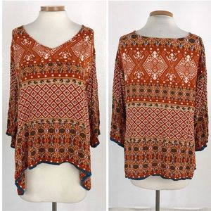 World Market | Orange Boho Oversized Blouse